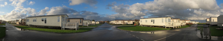 Panoramic view of holiday and residential caravan park. Stock Photo