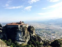 Panoramic view on the Holy Monastery of St. Stephen in Meteora, Greece.  stock photos