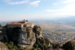Panoramic view on the Holy Monastery of St. Stephen in Meteora, Greece.  royalty free stock photos