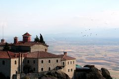 Panoramic view on the Holy Monastery of St. Stephen in Meteora, Greece.  royalty free stock images