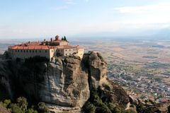 Panoramic view on the Holy Monastery of St. Stephen in Meteora, Greece.  royalty free stock photography