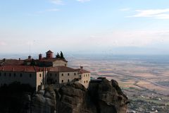 Panoramic view on the Holy Monastery of St. Stephen in Meteora, Greece.  stock images