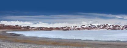 Panoramic view of holy Rakshas Tal lake in Ngari, Western Tibet, Royalty Free Stock Image