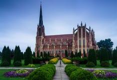 Panoramic view of Holy Trinity catholic church. Gervyaty. Belarus. Royalty Free Stock Photo