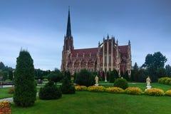 Panoramic view of Holy Trinity catholic church. Gervyaty. Belarus. Royalty Free Stock Image