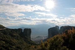 Panoramic view of Holy Trinity Monastery Agia Trias in Meteora monasteries in Greece Royalty Free Stock Photography