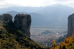 Panoramic view of Holy Trinity Monastery Agia Trias in Meteora monasteries in Greece Stock Photography