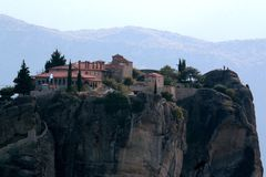 Panoramic view of Holy Trinity Monastery Agia Trias in Meteora monasteries in Greece Royalty Free Stock Photo