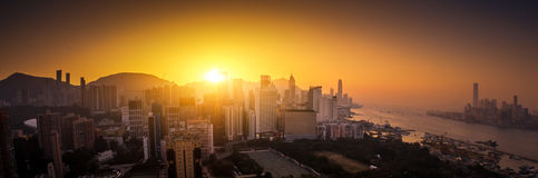 Panoramic view of Hong Kong skyline at sunset stock images