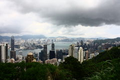 Panoramic view of Hong Kong from Victoria Peak Stock Photo