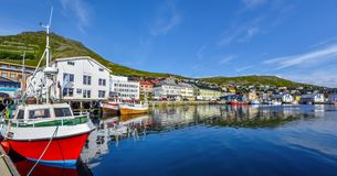 Panoramic view of Honningsvag town and bay in Mageroya island.  Nordkapp Municipality in Finnmark county
