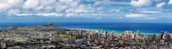 Panoramic view of Honolulu city, Waikiki and Diamond Head stock photos