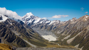 Panoramic view of valley and Mt Cook, NZ royalty free stock photography