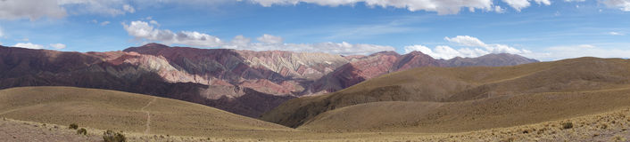 Panoramic view of Hornacal mountain. Beautiful big Panoramic view of Hornacal mountain (14 Color Mountain) in Argentina near Tilcara Royalty Free Stock Images
