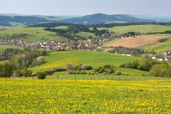 Panoramic view of Horni Lidec village Stock Images
