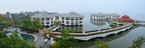 Panoramic view of the Hotel Intercontinental on West Lake in Han Stock Photos