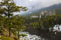 Panoramic View of Hotel at Surprise Corner in Rural Canada, Alberta. Panoramic view of a hotel in the forest at Surprise Corner, near Banff, in Alberta, Canada Stock Photography