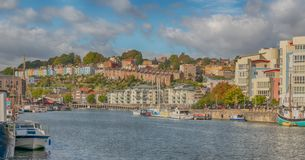 Panoramic view of Hotwells and Clifton from Bristol Docks, UK stock image