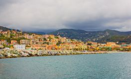 Panoramic view of the bay of the city of VarazzeItaly. Panoramic view of the houses of the city of Varazze located in Liguria,Italy Royalty Free Stock Photos