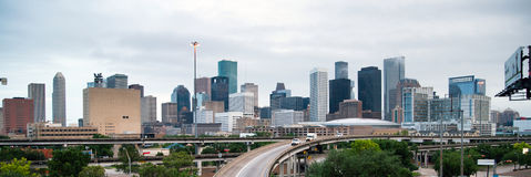 Panoramic View Houston Downtown City Skyline Infrastructure. Wide view of the transportation infrastructure around Houston royalty free stock photography