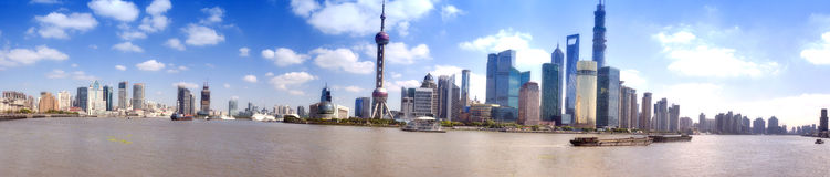 Panoramic view of huangpu river,shanghai bund Royalty Free Stock Photo