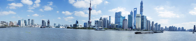 Panoramic view of huangpu river,shanghai bund Stock Image