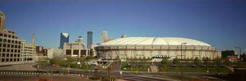 Panoramic view of Hubert H. Humphrey Metrodome, Minneapolis, MN Royalty Free Stock Photos