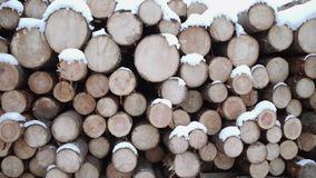 Panoramic view of huddle of lumber covered in snow on winter day. Panoramic view of huddle of lumber along road at sawmill covered in white snow on winter cloudy stock video footage
