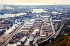Panoramic view of a huge sea freight port Stock Photography