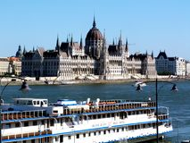 Panoramic View of the Hungarian Parliament in Budapest stock photography