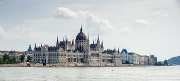 Panoramic view of the Hungarian Parliament. Royalty Free Stock Photo