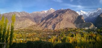 Panoramic view of Hunza valley in autumn. Gilgit Baltistan, Pakistan. royalty free stock images