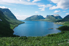 Panoramic View from Husfjellet Mountain on Senja Island. Norway royalty free stock photography
