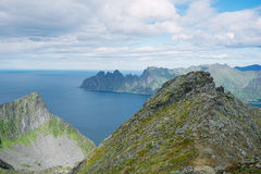 Panoramic View from Husfjellet Mountain to Devils Teeth. Panoramic View from Husfjellet Mountain on Senja Island Norway royalty free stock photography
