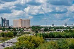 Panoramic view of Hyatt Regency , Rosen Centre and Convention Center  at International Drive area. stock photography