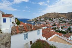 Panoramic view of Hydra town stock photos
