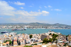 Panoramic view of Ibiza. In Spain from Dalt Vila Royalty Free Stock Images