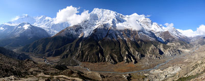 Panoramic view from Ice Lake in Nepal Stock Photo