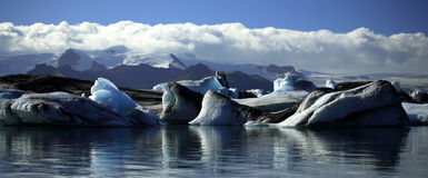 Panoramic view of icebergs and glaciers Royalty Free Stock Photo
