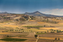Panoramic view of idyllic mountain landscape in the Cappadocia. Royalty Free Stock Photo