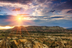 Panoramic view of idyllic mountain landscape in the Cappadocia. Royalty Free Stock Photos