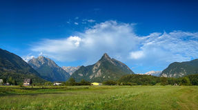 Panoramic view of idyllic mountain valley, Bovec, Slovenian Alps Royalty Free Stock Images
