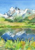 Panoramic view of idyllic mountains in the Alps with fresh green meadows in bloom, lake and flowers on the foreground. Watercolor vector illustration