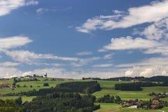 Panoramic view of idyllic summer landscape stock photo