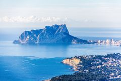Panoramic view of Ifach Rock Natural Park stock photography