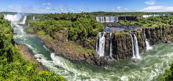 Panoramic view at Iguazu Falls,  Brazil Royalty Free Stock Photography