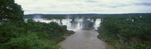 Panoramic view of Iguazu Waterfalls in Parque Nacional Iguazu, border of Brazil and Argentina Stock Images