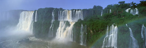 Panoramic view of Iguazu Waterfalls in Parque Nacional Iguazu, Salto Floriano, Brazil stock image