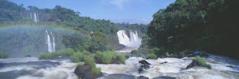 Panoramic view of Iguazu Waterfalls in Parque Nacional Iguazu, Salto Maria to Argentina Royalty Free Stock Photos