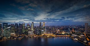 Enjoying Singapore downtown lights at night Stock Photography